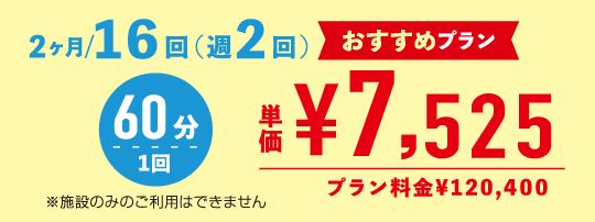 2ヶ月/16回 単価¥7,525